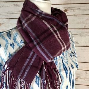 Cejon Italy purple plum plaid fringe oblong scarf
